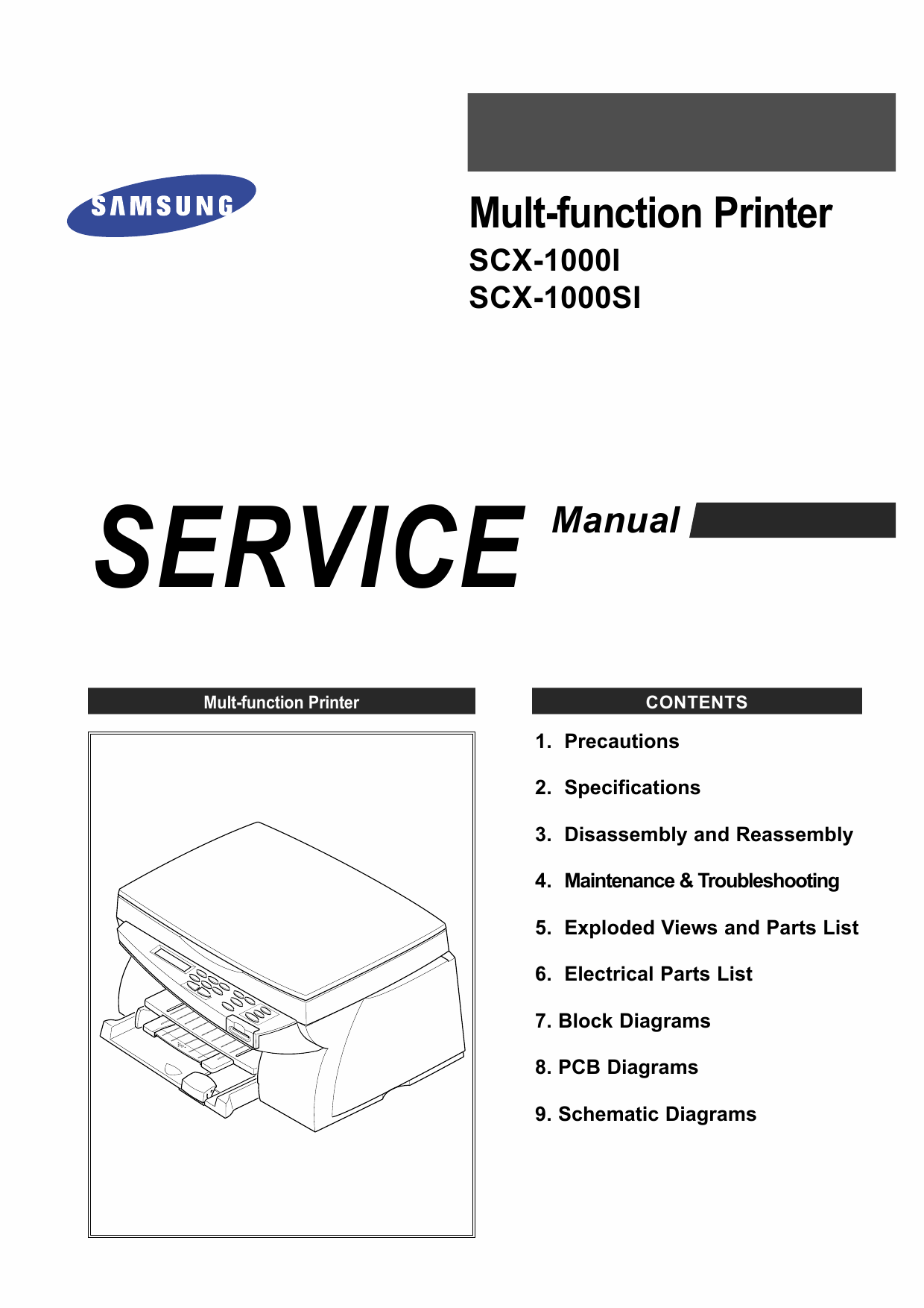 Samsung Multi-Function-Printer SCX-1000I 1000SI Parts and Service Manual-1